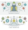 Flat line E-mail and Business Strategy Concept vector image