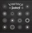 Vintage sunburst on chalkboard background vector image