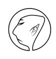 profile of buddhist monk vector image