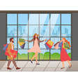 a group people with shopping bags in their vector image
