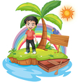 An island with a boy near the empty signage vector image vector image