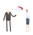 angry boss with employee vector image vector image