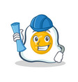architect fried egg character cartoon vector image vector image