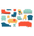 armchairs and couches modern comfortable soft vector image