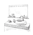 Bathroom interior sketch Washbasin and mirror vector image