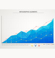blue business chart graph with three lines vector image