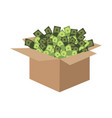 box of money cardboard box and cash vector image
