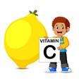 boy beside big lemon is holding board vector image vector image
