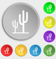 Cactus icon sign Symbol on eight flat buttons vector image vector image