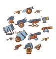 cannon retro icons set cartoon style vector image vector image