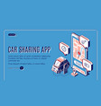 car sharing app service isometric landing page vector image