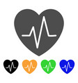 cardiology heart pulse flat icon vector image