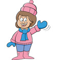 Cartoon girl in Winter clothing waving vector image vector image