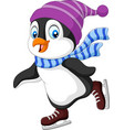 cartoon penguin ice skating isolated vector image vector image