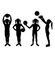 children silhouettes girl playing with ball vector image