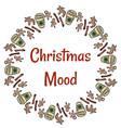 christmas mood cookies and coffee wreath vector image