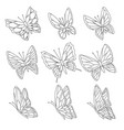 coloring book page butterflies isolated on vector image vector image
