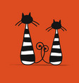 couple of striped cats sketch for your design vector image vector image