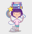 cute girl with book vector image vector image