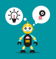cute robot toy with bulb and cogs in speech bubble vector image vector image