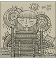 decorative cartoon winter girl sketch vector image vector image