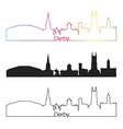 Derby skyline linear style with rainbow vector image vector image