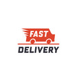 fast delivery concept with truck van vector image vector image