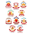 Fast food cafe coffee house and bakery shop icons vector image