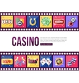 Film strips and set of colorful modern gambling vector image vector image
