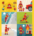 fire fighter banner concept set flat style vector image vector image