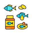fish oil icon set fish simple icon set vector image vector image