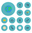 flat icons water bearer fishes scales and other vector image vector image