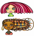 girls with cool hair style vector image vector image
