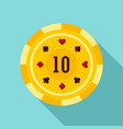 gold casino chip icon flat style vector image