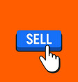 hand mouse cursor clicks the sell button vector image vector image