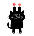 happy halloween cartoon black cat scratching back vector image vector image