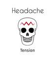 headache linear icon skull vector image