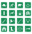 hunting icons set grunge vector image vector image