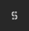 Letter S monogram logo mockup thin line design