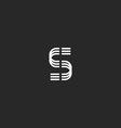 Letter S monogram logo mockup thin line design vector image vector image