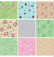 light seamless patterns with plants vector image vector image