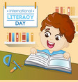 literacy day concept background cartoon style vector image