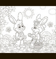 little bunnies with a decorated easter basket vector image