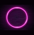 neon glowing circle pink frame for banner on dark vector image vector image
