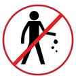 no littering sign flat icon vector image vector image
