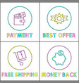 online payment best offer and pay back icons vector image vector image