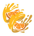 orange fruit spinning in whirlwind juice vector image