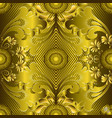 ornate gold 3d greek seamless pattern striped vector image vector image
