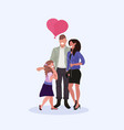 parents with daughter holding pink heart shape vector image