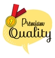 Premium quality text on speech bubble with gold vector image